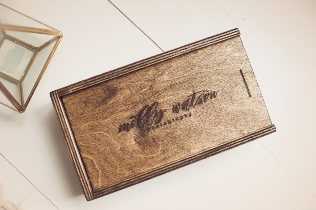 Engraved walnut wood print box for Molly Watson Photography
