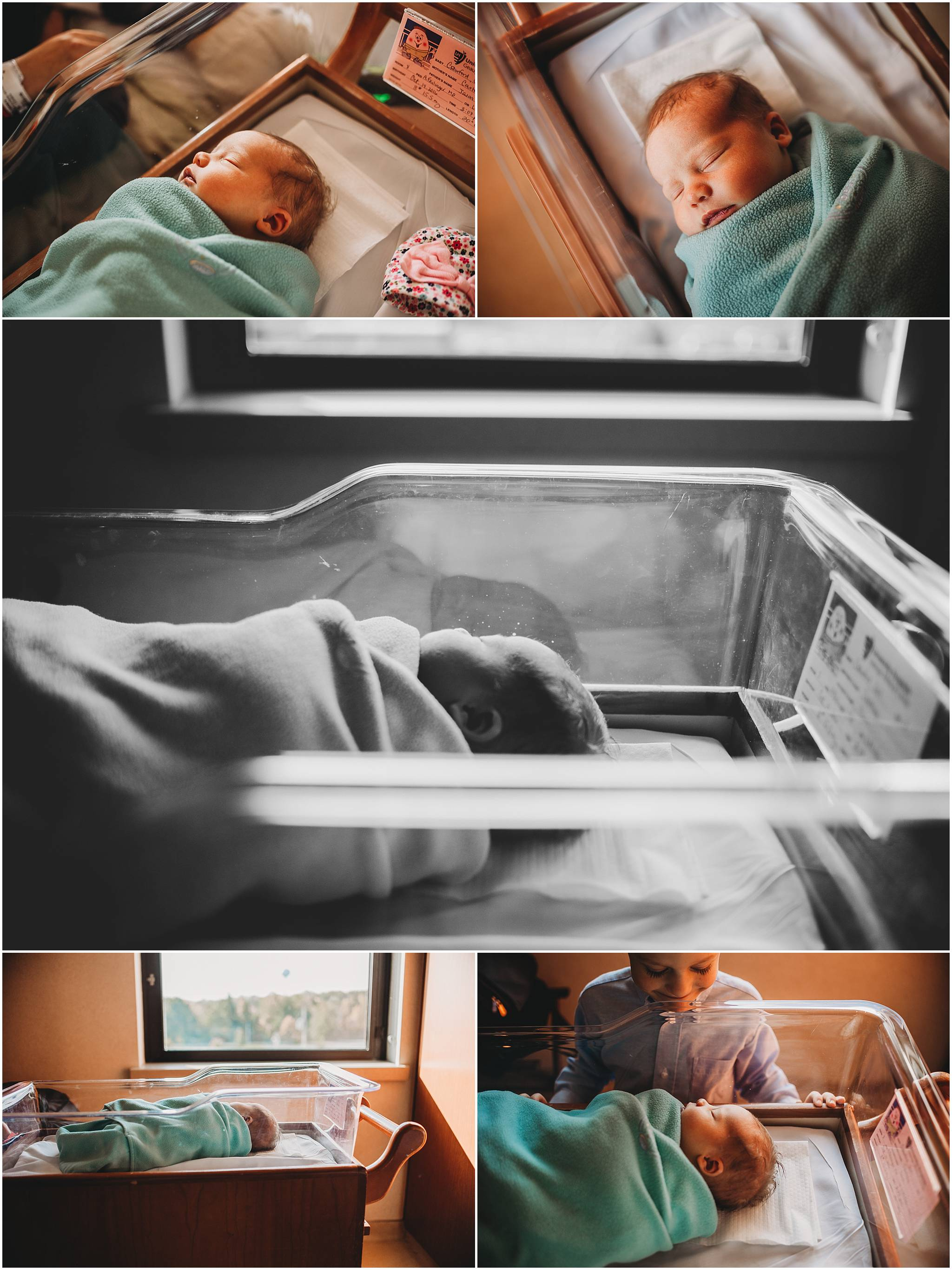 Collage of newborn baby in Cleveland hospital
