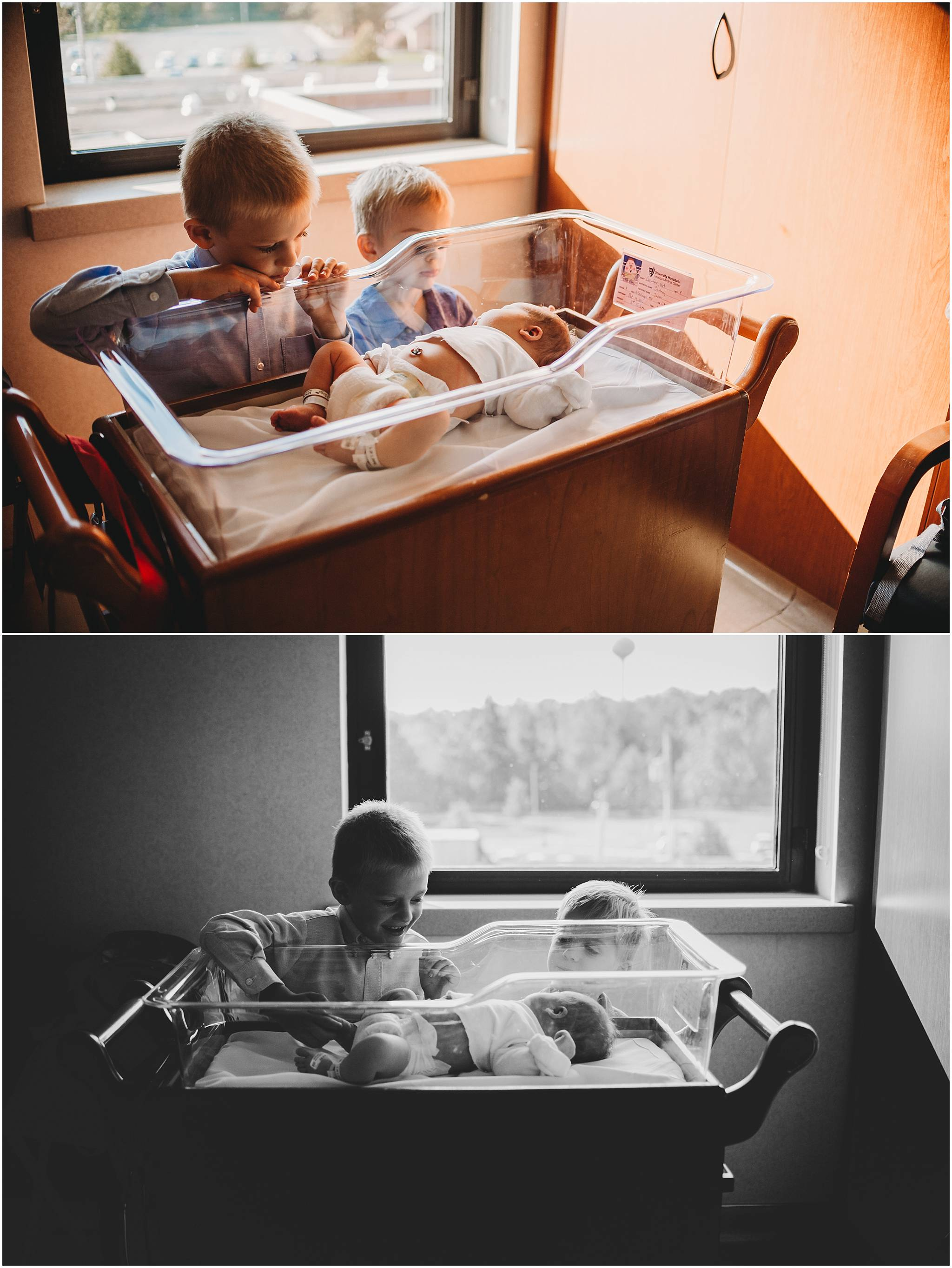 Big brothers looking at newborn baby sister in Cleveland hospital