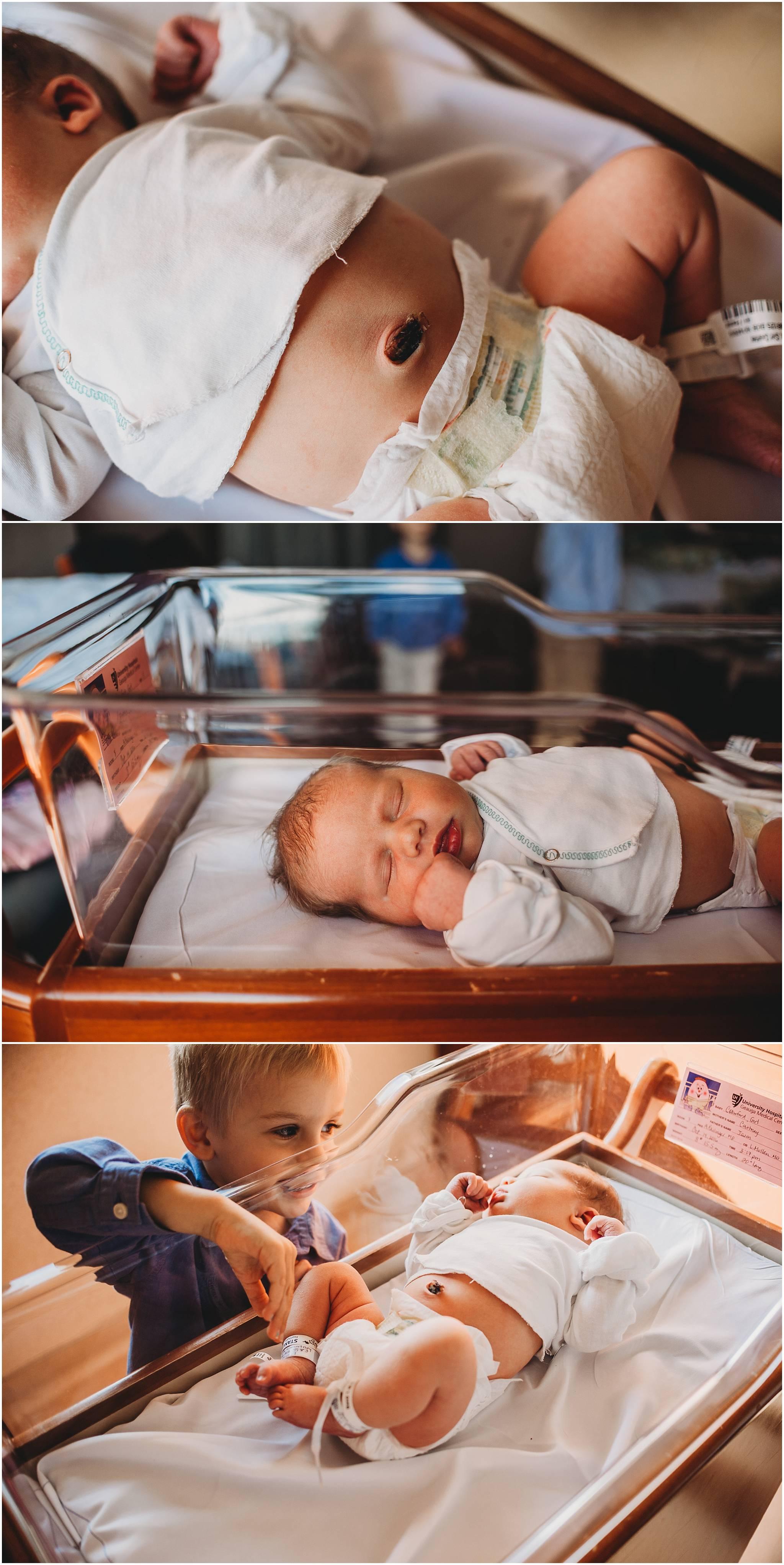 Little baby in Cleveland hospital bassinet