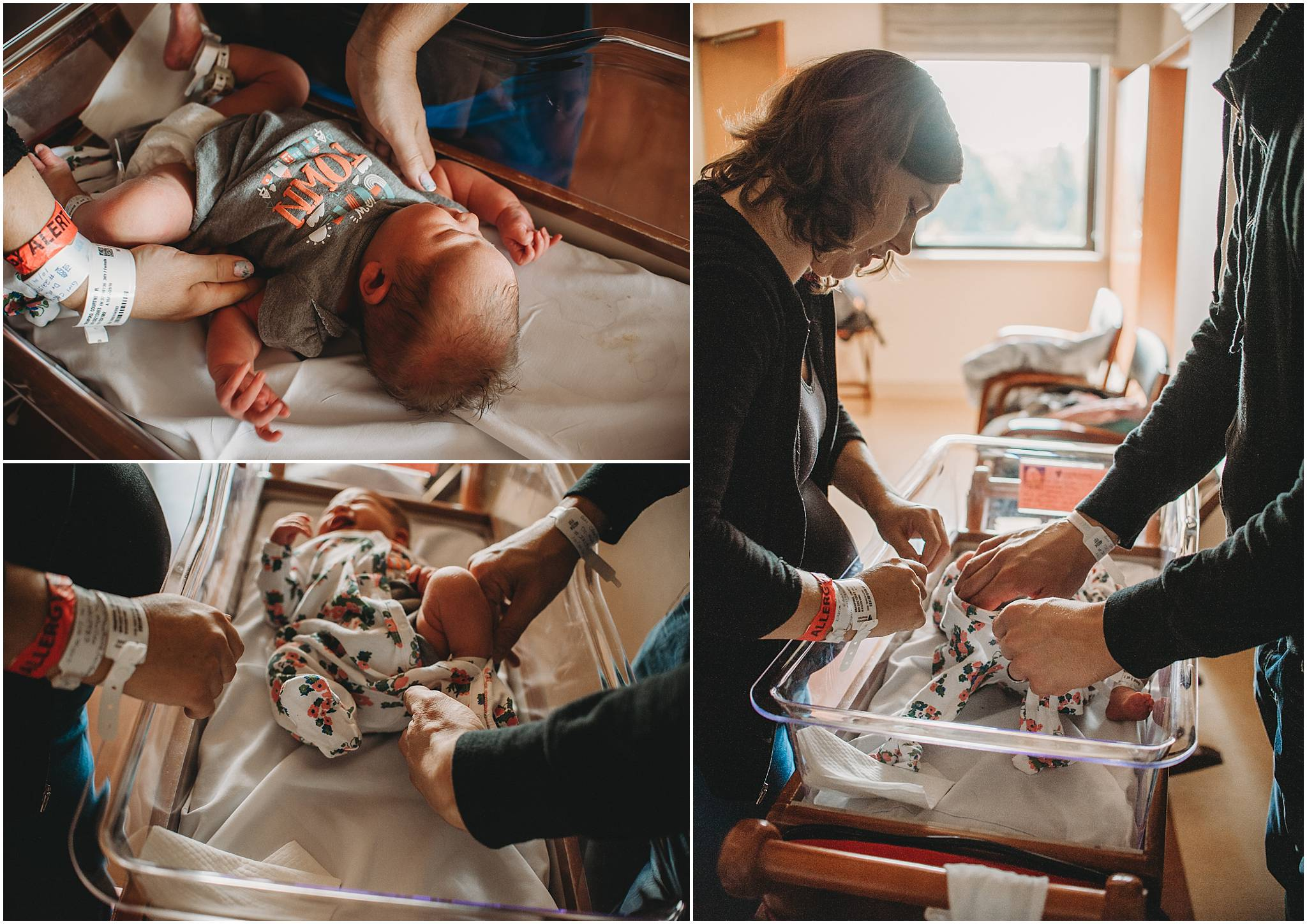 Parents dressing newborn baby in Cleveland hospital
