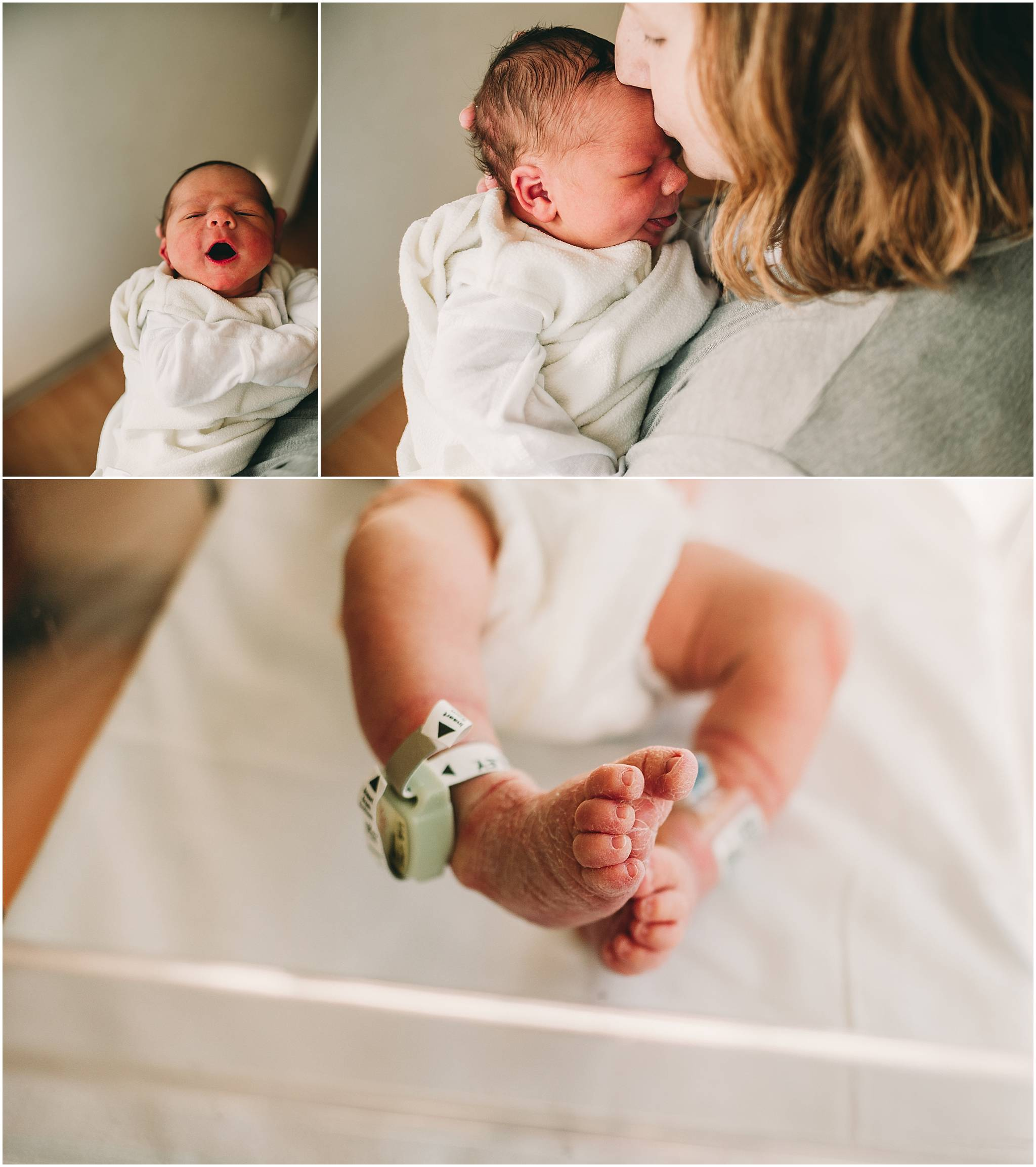 Baby toes and yawns during newborn photography session in Cleveland.