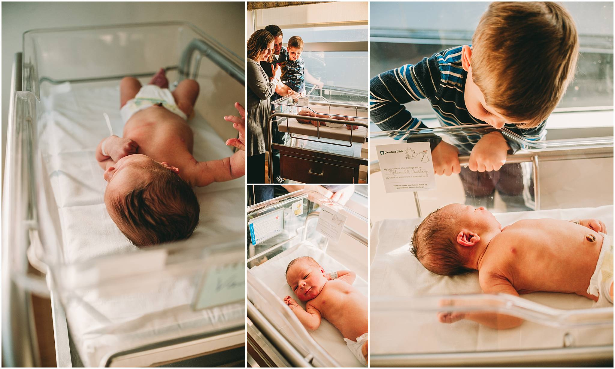 Collage of newborn baby with big brother during newborn photo session in Cleveland.