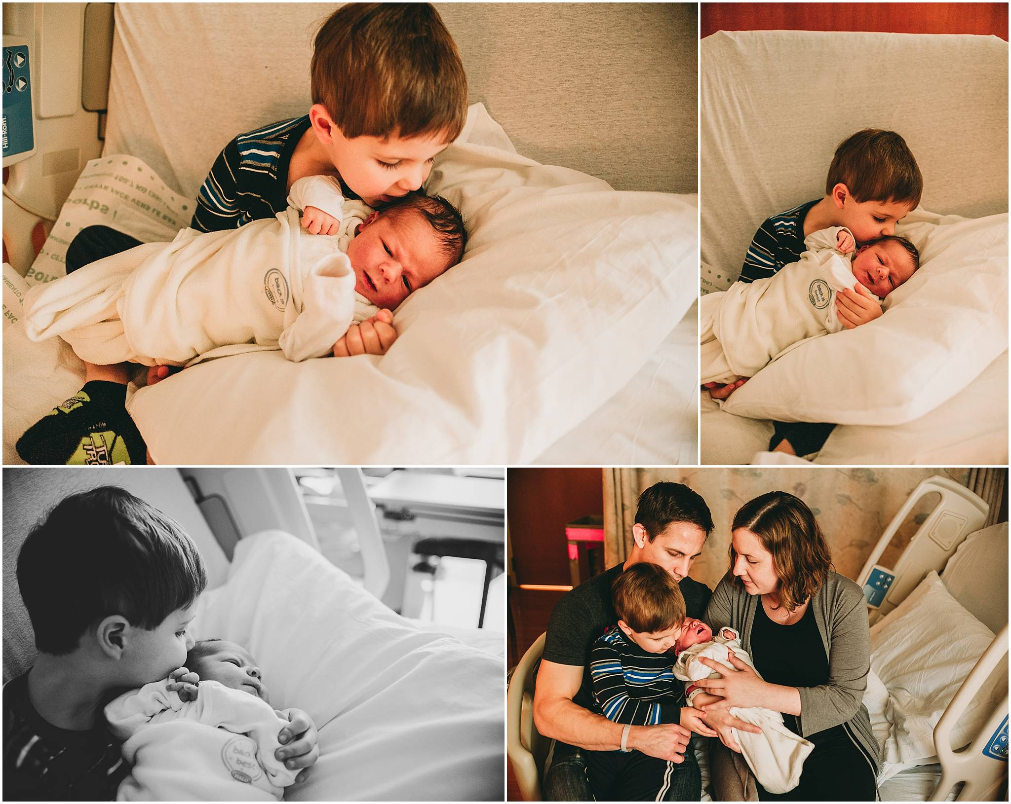 Family holding new baby boy in Cleveland hospital during newborn photo session