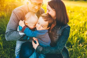 Playful Family of Four Outdoor Sunset Session in Medina, OH