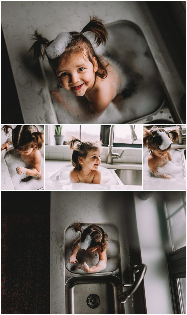 Collage of five photos of little girl in kitchen sink