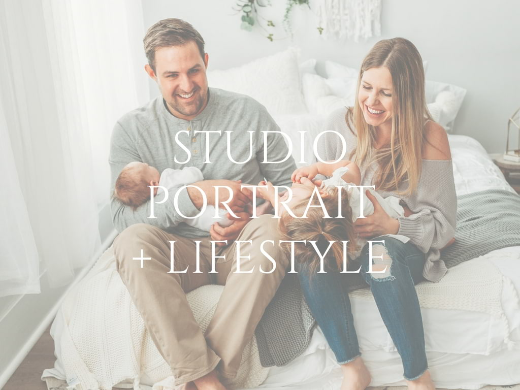 Studio portrait and lifestyle home page button for Molly Watson Photography