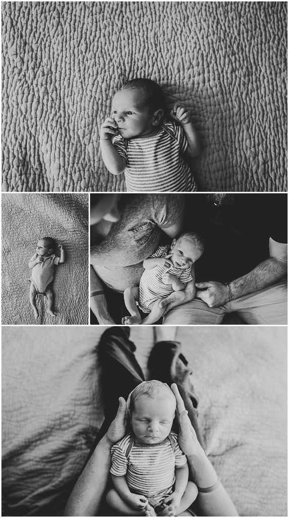 Black and white images of baby boy on parent's bed and held by mom and dad in Cleveland home.