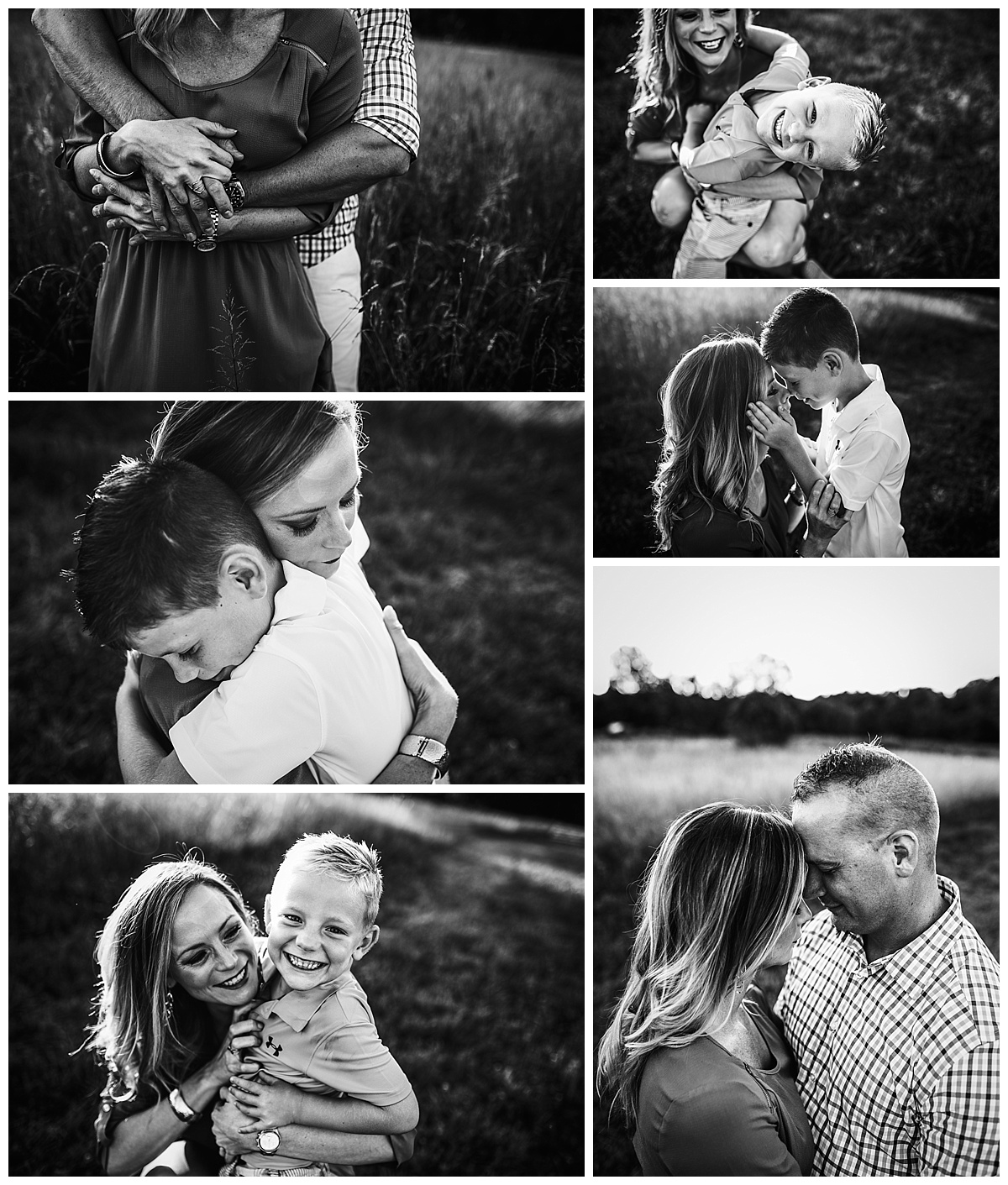 Black and white images of a mom with her two young sons and boyfriend during summer photo shoot in Medina, OH grassy field.