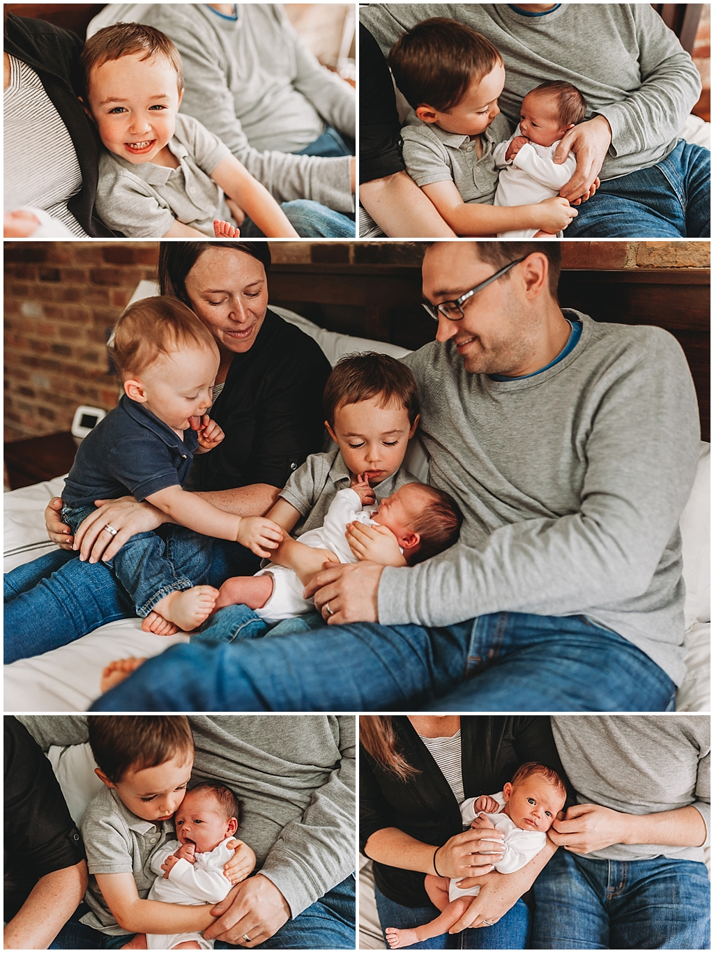 Young family welcoming newborn baby girl to family during in home photo session in Rocky River, OH.
