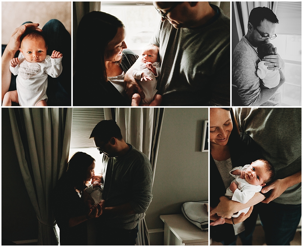 Collage of mom and dad with newborn baby girl in their home nursery.