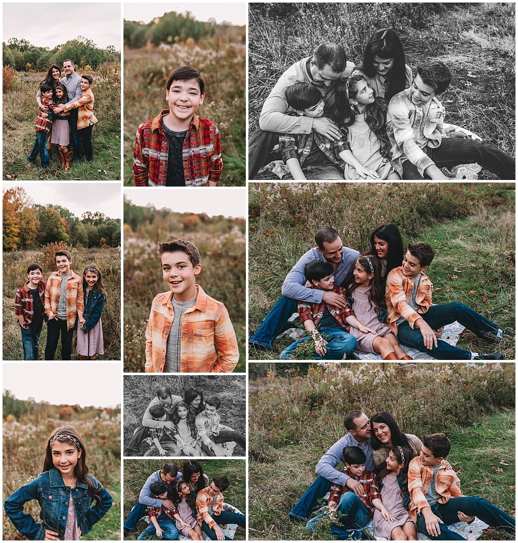 Family of five with mom, dad, two songs and one daughter photos during sunset session.