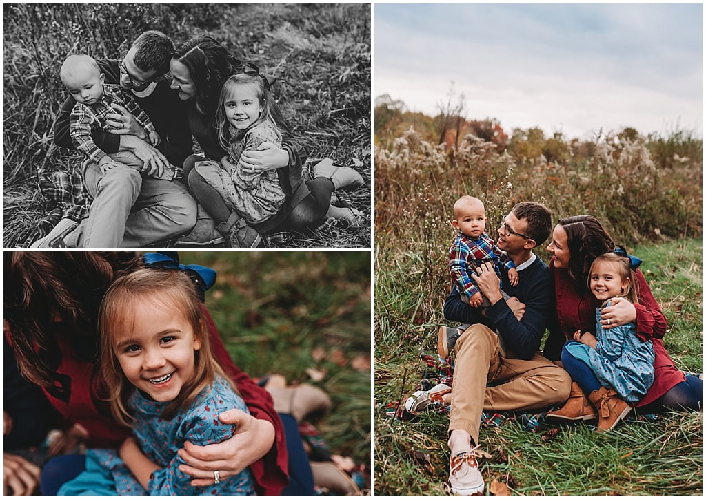Collage of family photos in grassy field near Akron, OH.