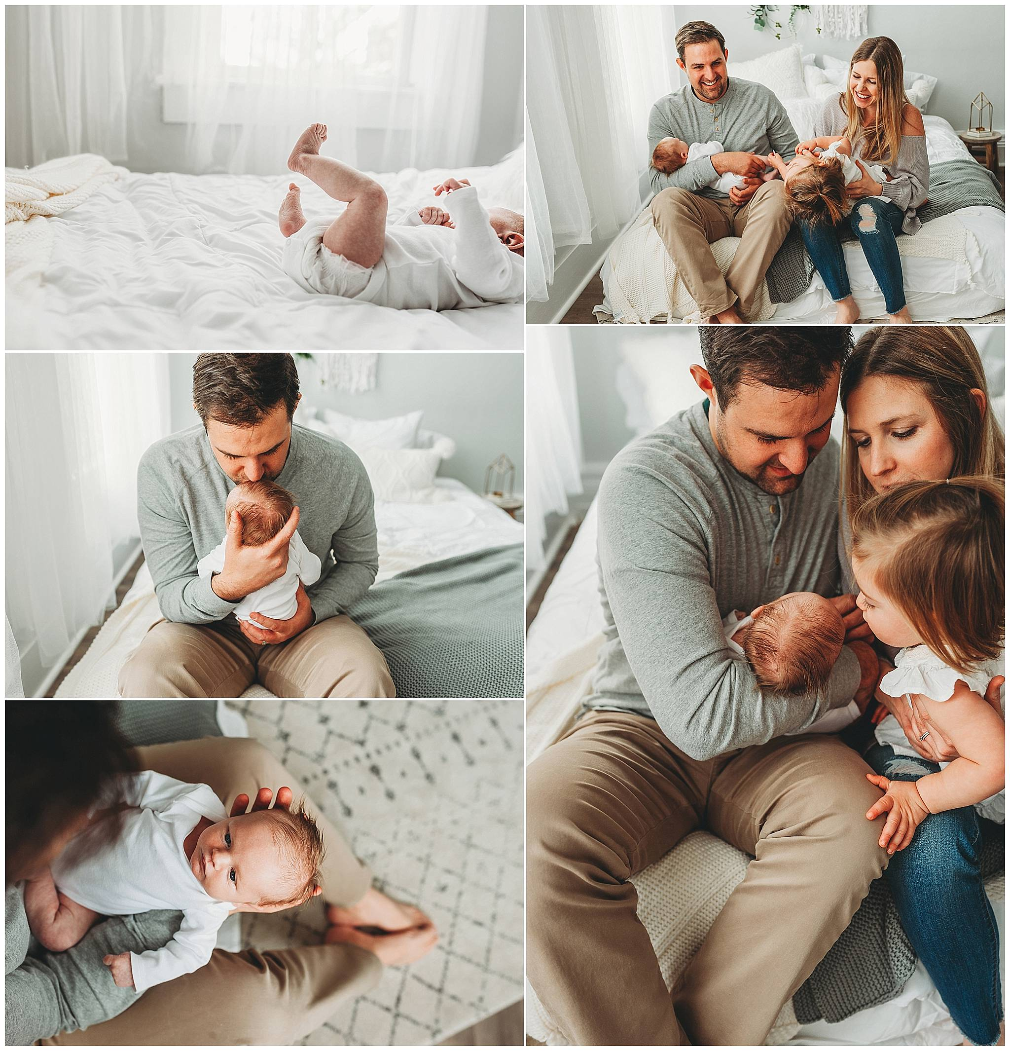 Collage of parents holding newborn son in Medina OH photography studio.